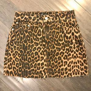 NWOT   Zara Denim Skirt with Leopard Print